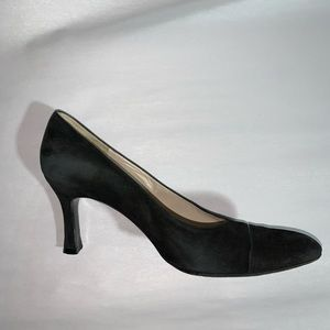 CHANEL size 39.5 black suede BASIC PUMPS